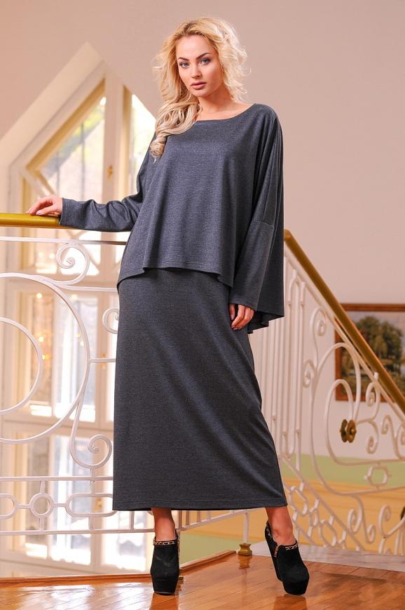 Платье оверсайз серого цвета 2426-41.41|интернет-магазин vvlen.com