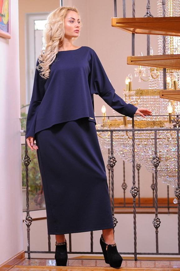 Платье оверсайз синего в горох цвета 2426.47|интернет-магазин vvlen.com