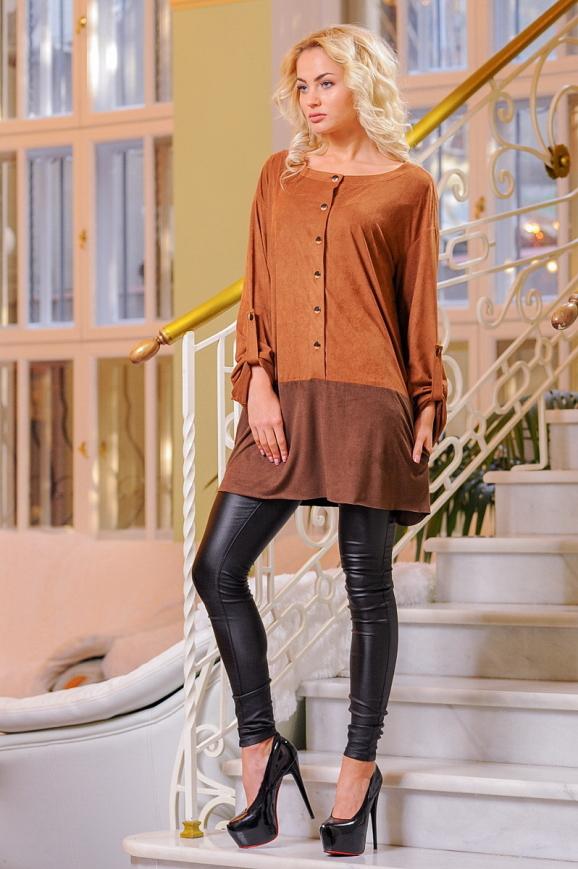 Туника асимметричная светло-коричневого цвета 2430.86|интернет-магазин vvlen.com