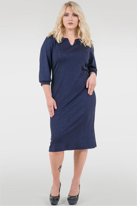 Платье футляр синего цвета 2289-2.104|интернет-магазин vvlen.com