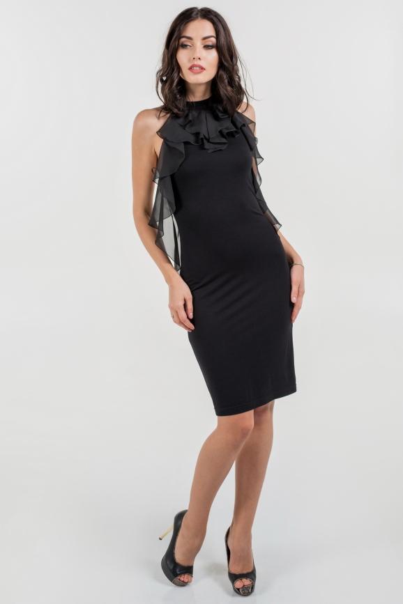Коктейльное платье футляр черного цвета 1173.2|интернет-магазин vvlen.com