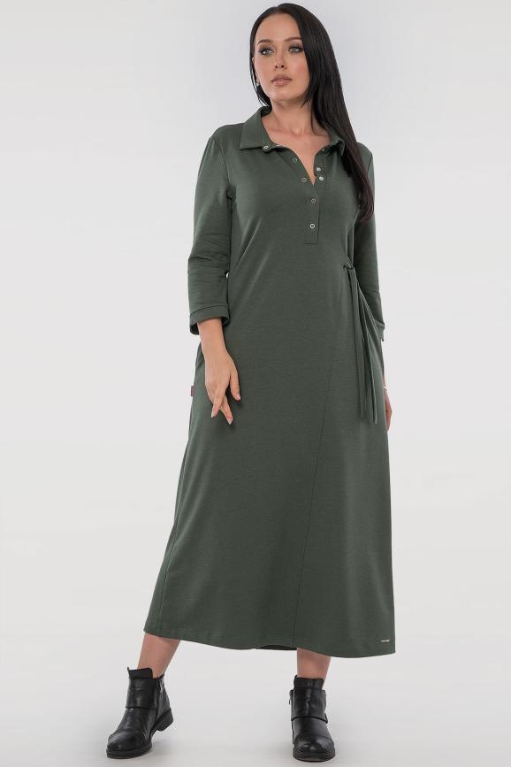 Повседневное платье рубашка хаки цвета 2797-1.79|интернет-магазин vvlen.com