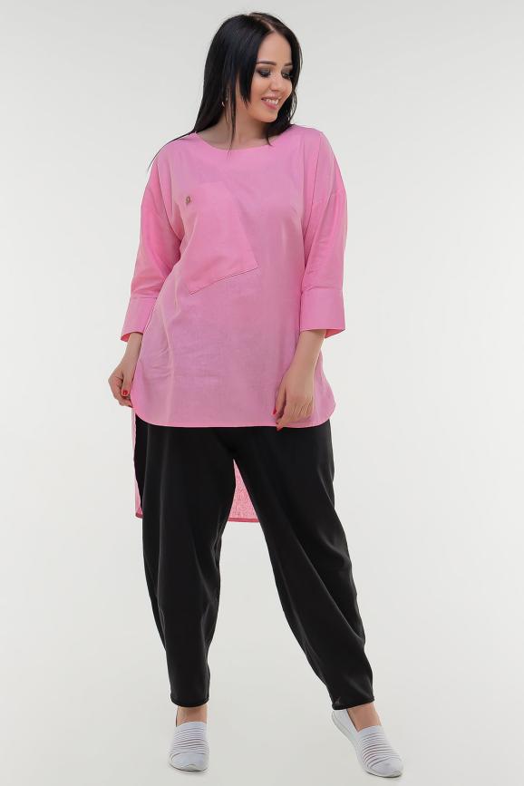 Туника асимметричная розового цвета it 504|интернет-магазин vvlen.com