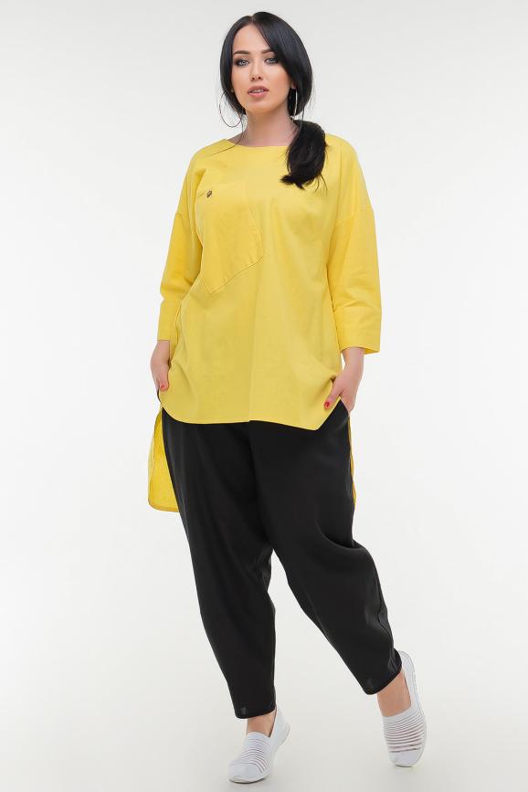 Туника асимметричная желтого цвета it 504|интернет-магазин vvlen.com