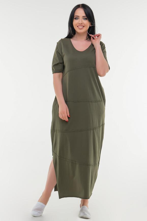 Летнее платье  мешок хаки цвета|интернет-магазин vvlen.com