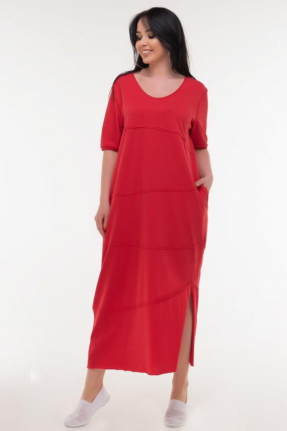 Летнее платье  мешок красного цвета|интернет-магазин vvlen.com