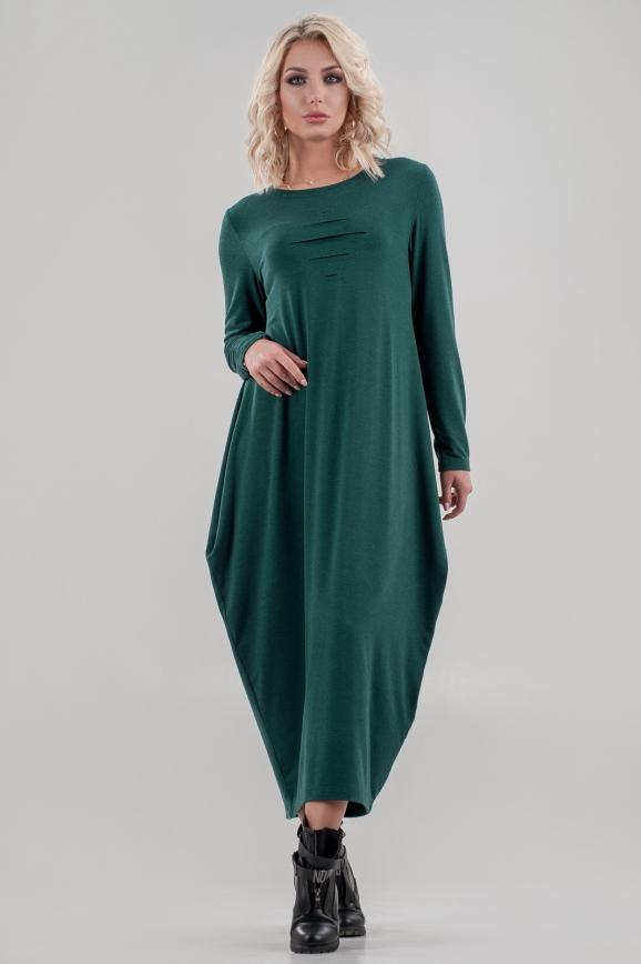 Повседневное платье балахон зеленого цвета|интернет-магазин vvlen.com