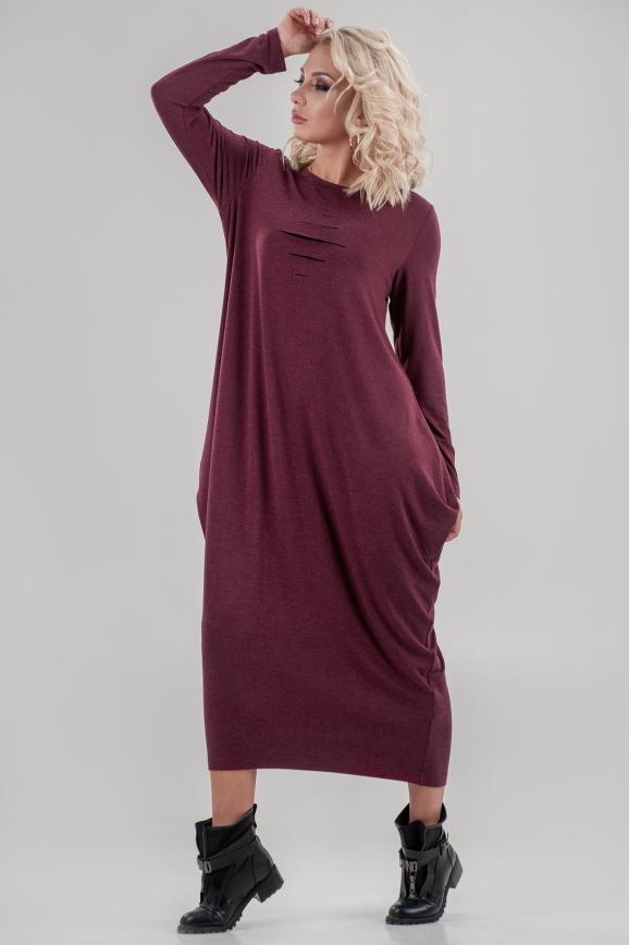 Повседневное платье  мешок бордового цвета|интернет-магазин vvlen.com