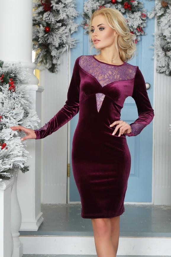 Коктейльное платье футляр сиреневого с черным цвета 2457.26|интернет-магазин vvlen.com