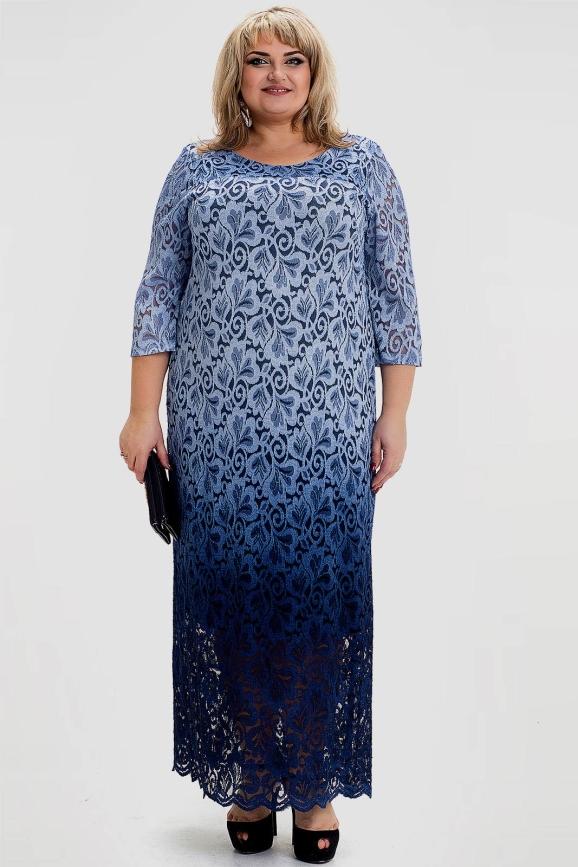 Платье батал голубое 1022т-1|интернет-магазин vvlen.com