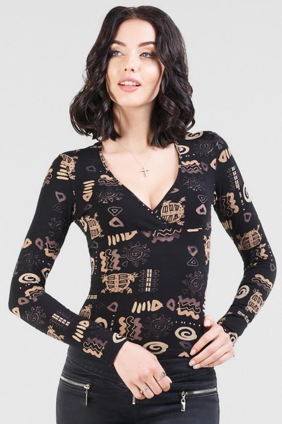 Блуза черного цвета 187.17|интернет-магазин vvlen.com