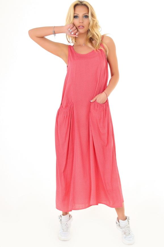 Платье оверсайз кораллового цвета 2541.84|интернет-магазин vvlen.com