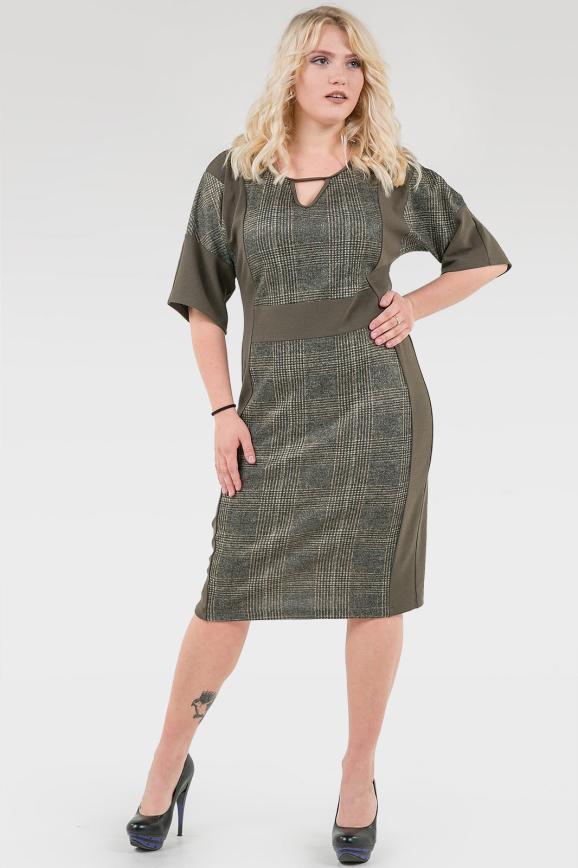 Платье футляр хаки цвета 2376.103|интернет-магазин vvlen.com