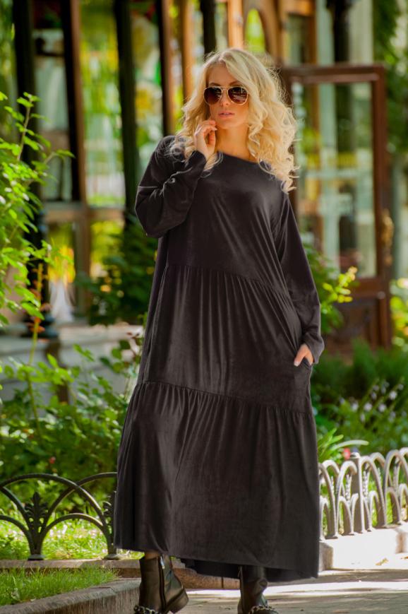 Платье оверсайз коричневого цвета 2403.86|интернет-магазин vvlen.com