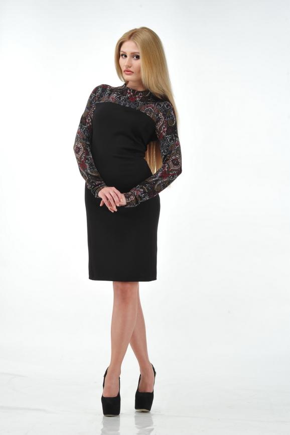 Офисное платье футляр черного цвета интернет-магазин vvlen.com