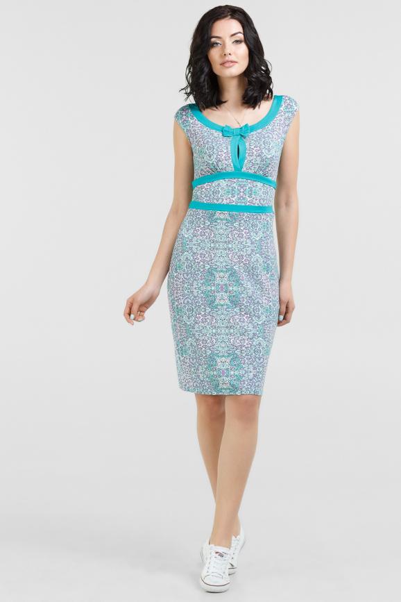 Летнее платье футляр мятный с сиреневым цвета 2049. 17-73|интернет-магазин vvlen.com