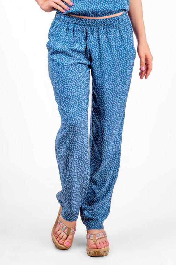 Женские брюки штапельные голубые с белым|интернет-магазин vvlen.com