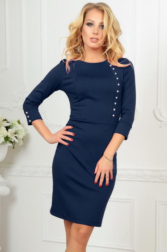 Офисное платье футляр темно-синего цвета 2475.47|интернет-магазин vvlen.com