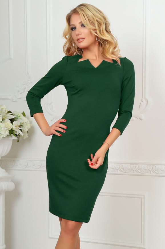 Офисное платье темно-зеленого цвета 2486.47|интернет-магазин vvlen.com