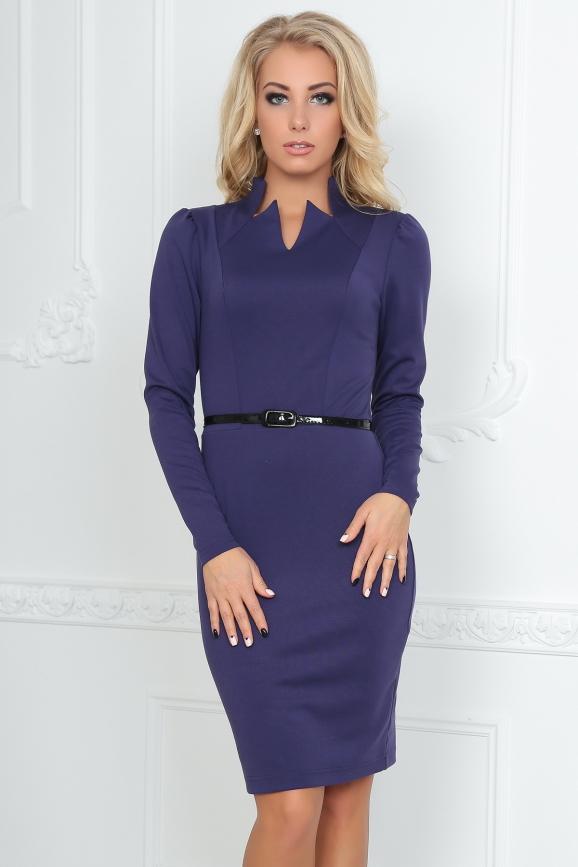 Офисное платье футляр фиолетового цвета|интернет-магазин vvlen.com