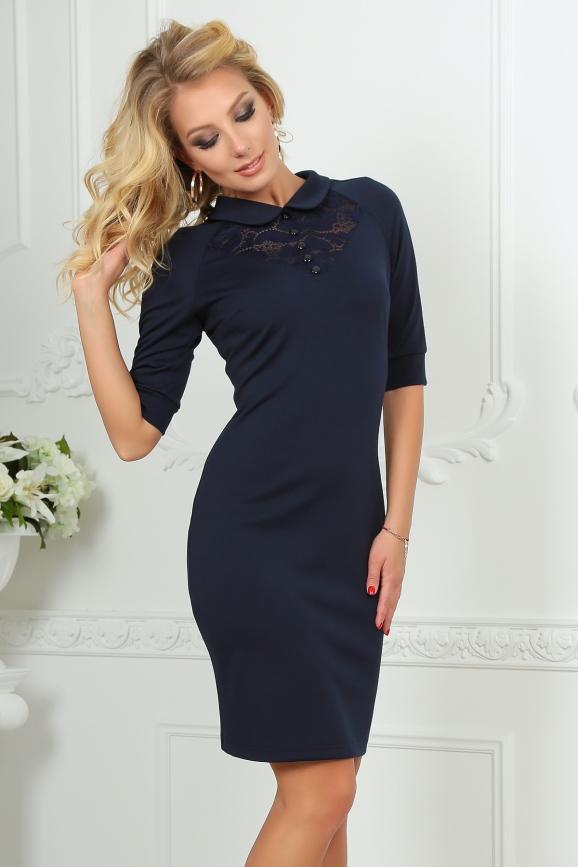 Офисное платье темно-синего цвета 1841-1.47|интернет-магазин vvlen.com