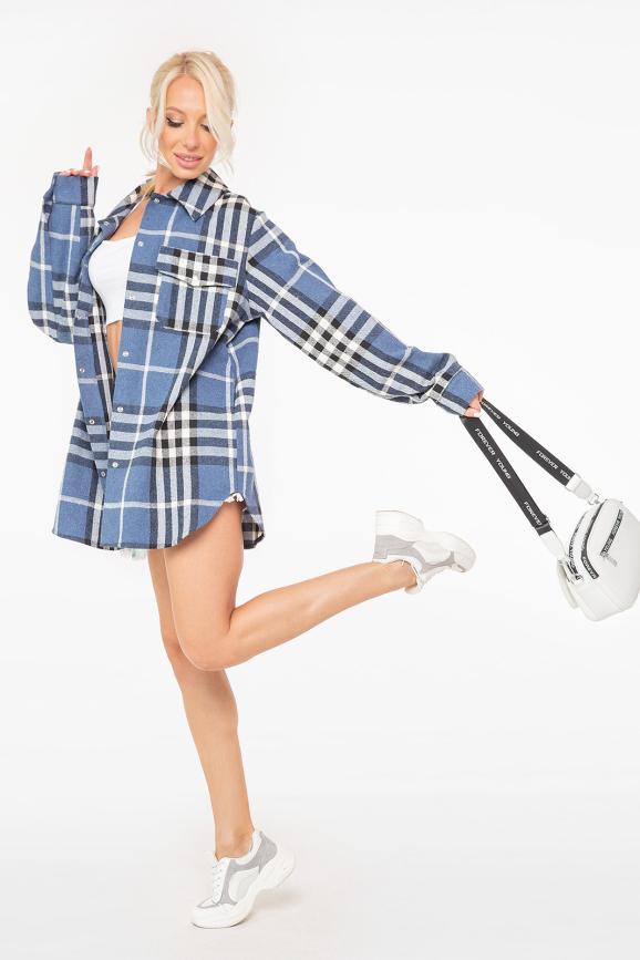 Женская рубашка оверсайз джинса цвета 2944.139|интернет-магазин vvlen.com