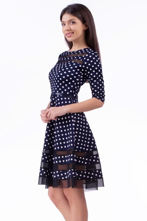 Коктейльное платье с расклешённой юбкой синего в горох цвета 1487.45d5|интернет-магазин vvlen.com