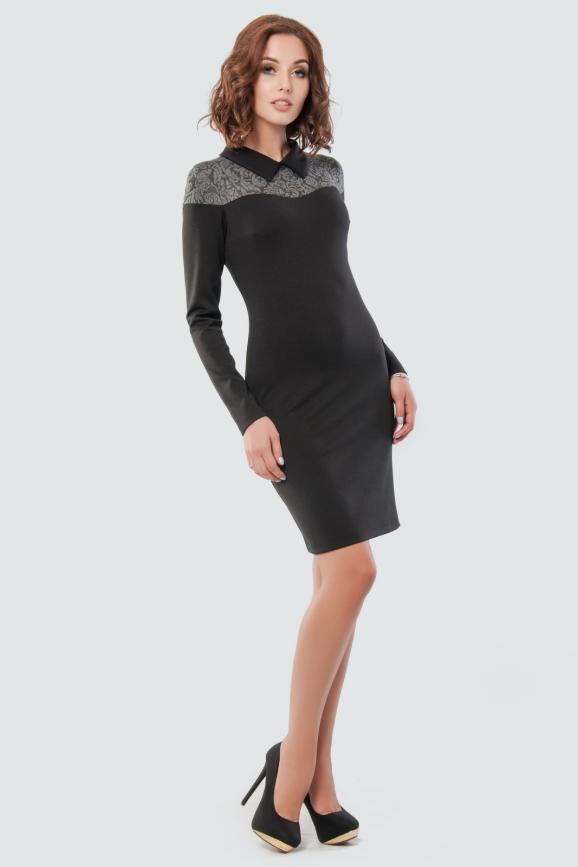 Офисное платье футляр черного цвета 1872.47|интернет-магазин vvlen.com