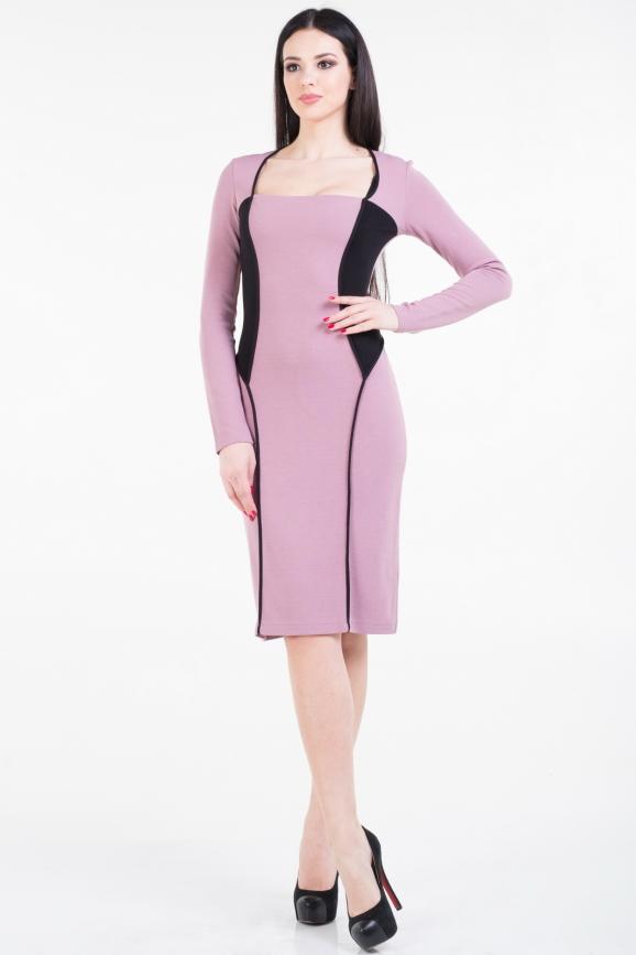 Повседневное платье футляр фрезового цвета 1348.1|интернет-магазин vvlen.com