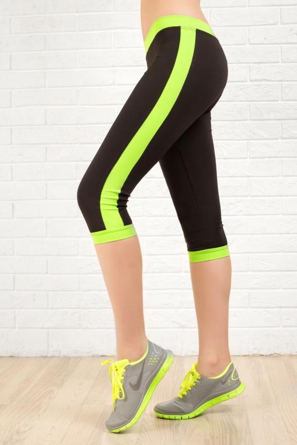 Бриджи для фитнеса черного с зеленым цвета 2313.67|интернет-магазин vvlen.com