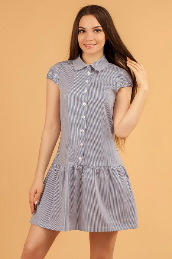 Повседневное платье рубашка полоски синей цвета 2329.9 d17|интернет-магазин vvlen.com