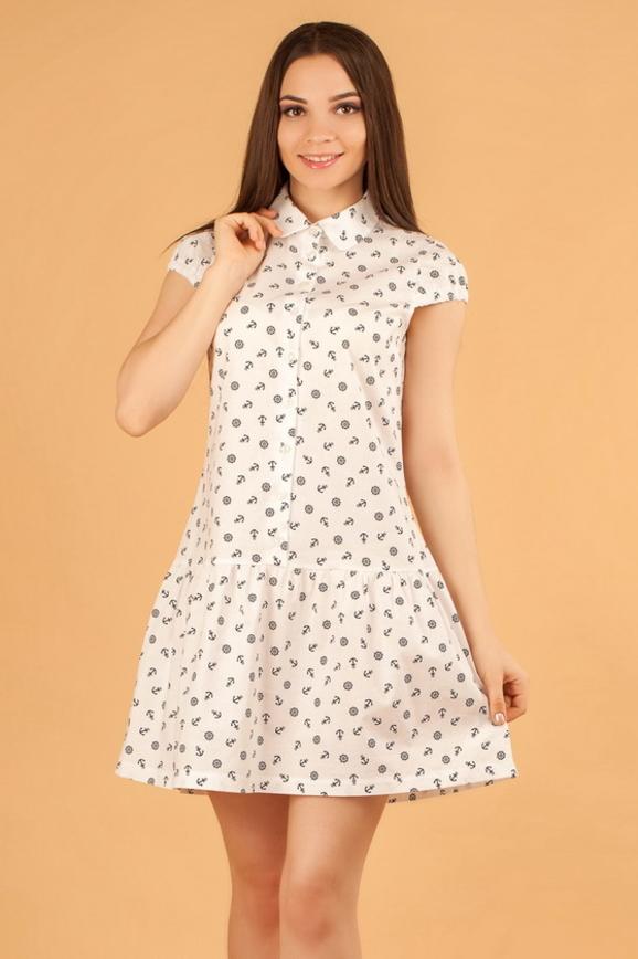 Повседневное платье рубашка белого с красным цвета 2329.9 d17|интернет-магазин vvlen.com
