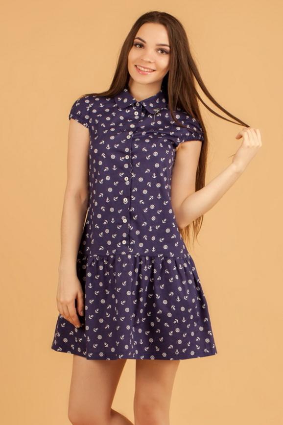 Повседневное платье рубашка синего в горох цвета 2329.9 d17|интернет-магазин vvlen.com