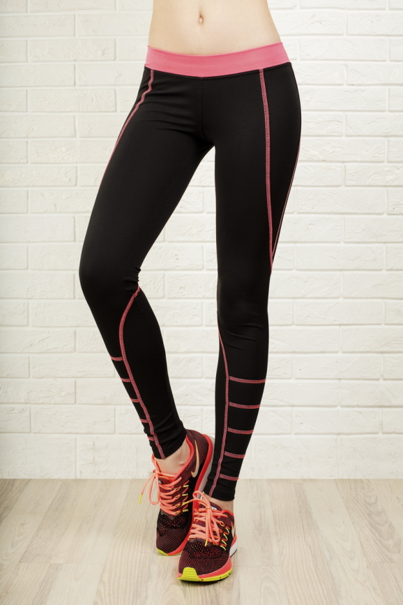Лосины для фитнеса черного с розовым цвета 2312.67|интернет-магазин vvlen.com