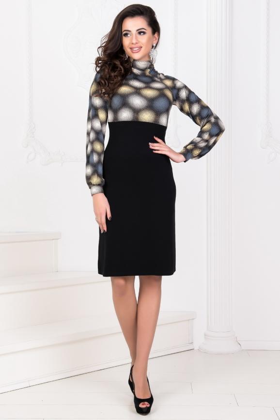 Повседневное платье с расклешённой юбкой черного с желтым цвета интернет-магазин vvlen.com