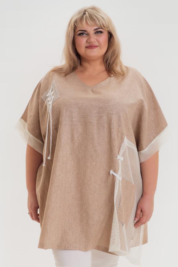 Туника асимметричная бежевого цвета 1044л-2|интернет-магазин vvlen.com
