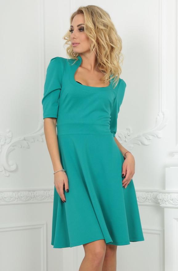 Повседневное платье с расклешённой юбкой мятного цвета 2509.47|интернет-магазин vvlen.com