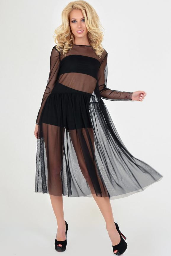 Клубное платье с пышной юбкой черного цвета 2094.10|интернет-магазин vvlen.com