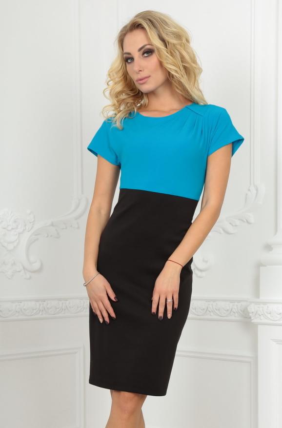 Офисное платье футляр черного с бирюзой цвета 1700-1.47|интернет-магазин vvlen.com