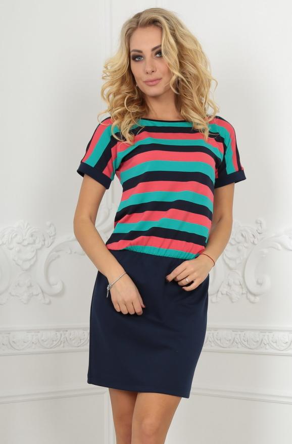 Повседневное платье футляр темно-синего с коралловым цвета|интернет-магазин vvlen.com