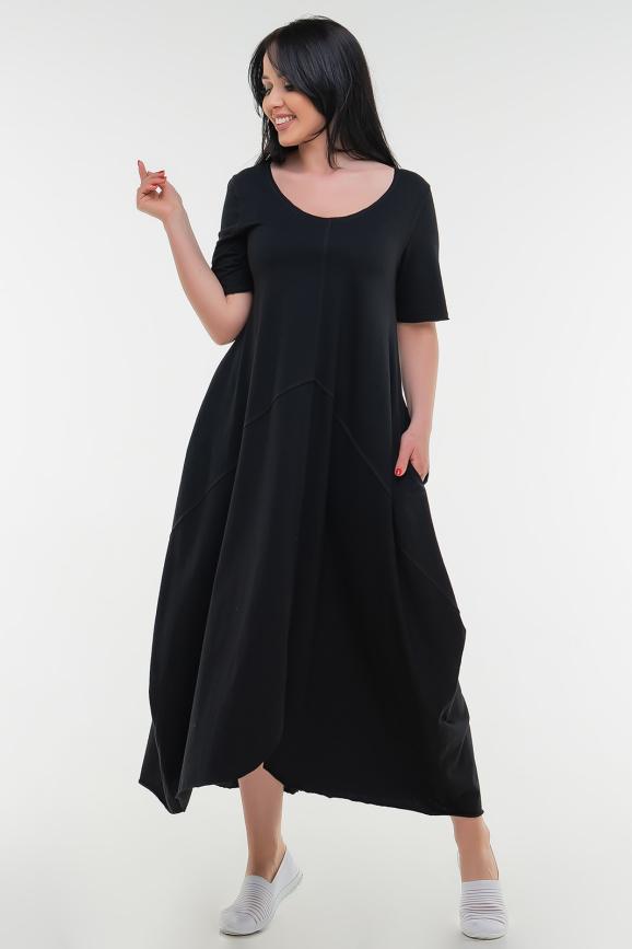 Летнее платье трапеция черного цвета 1719 it|интернет-магазин vvlen.com