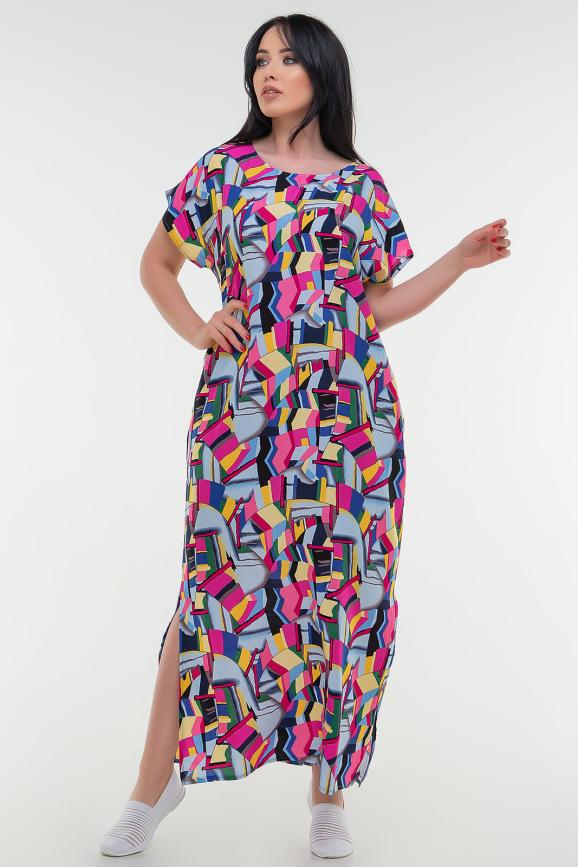 Летнее платье с длинной юбкой малинового с голубым цвета it 100|интернет-магазин vvlen.com