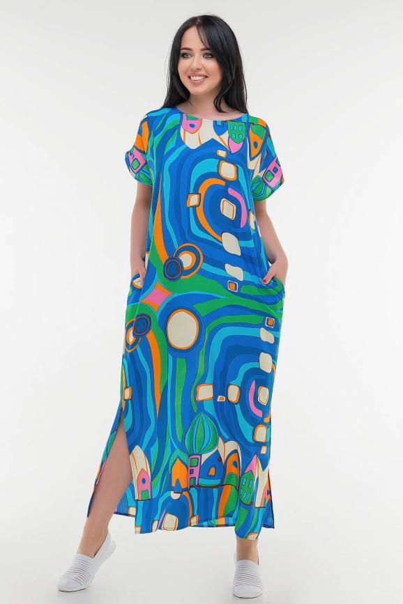 Летнее платье  мешок синего с зеленым цвета it 100|интернет-магазин vvlen.com