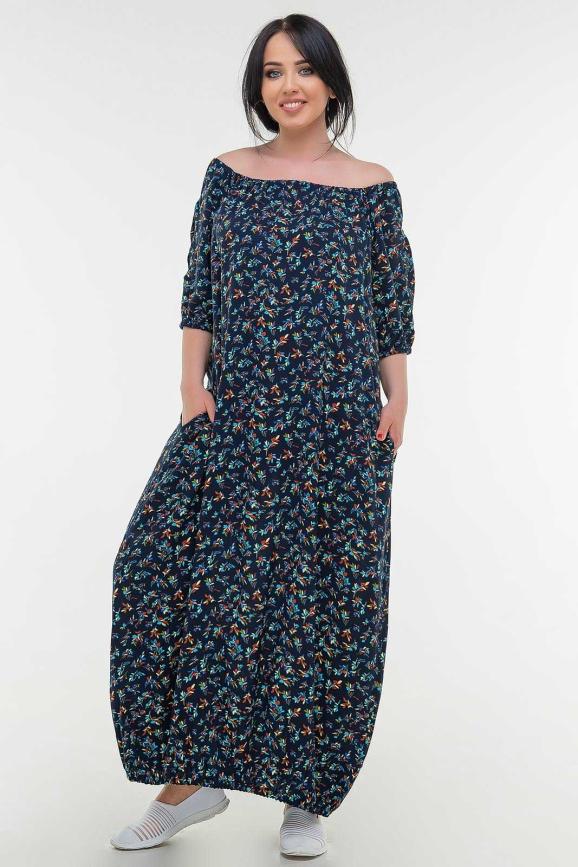 Летнее платье  мешок синего  принта цвета 107 it|интернет-магазин vvlen.com