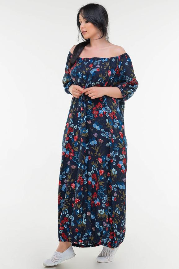 Летнее платье  мешок синего цветочного принта цвета|интернет-магазин vvlen.com