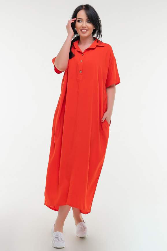 Летнее платье рубашка красного цвета 103-1 it|интернет-магазин vvlen.com