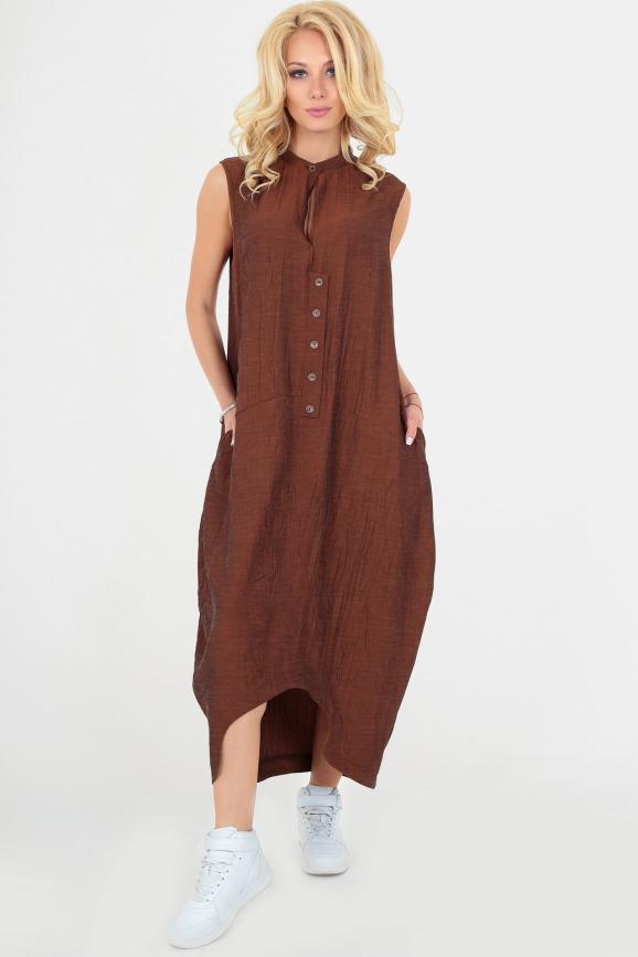 Повседневное платье  мешок коричневого цвета|интернет-магазин vvlen.com