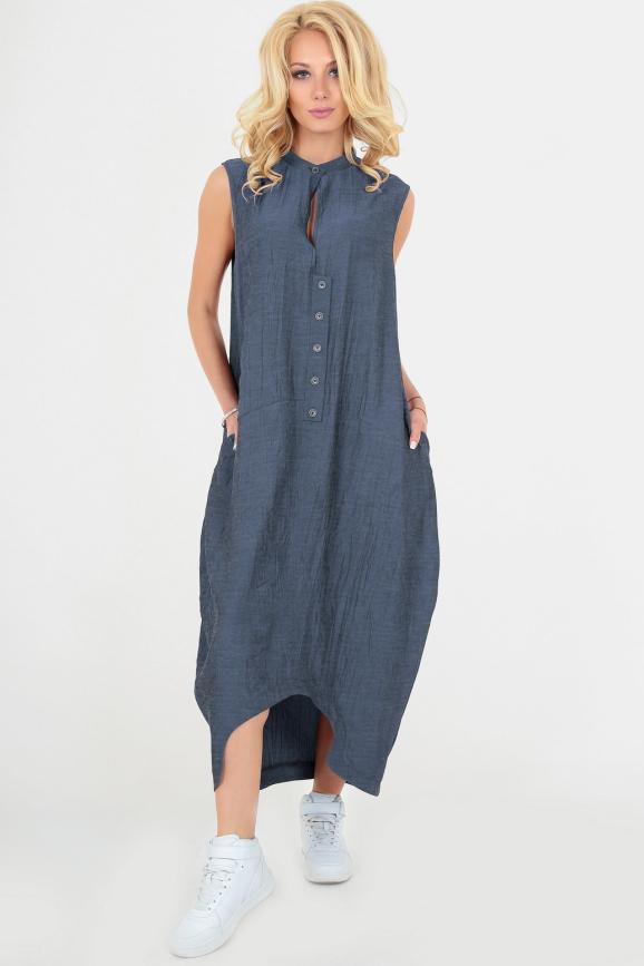Летнее платье балахон синего цвета|интернет-магазин vvlen.com