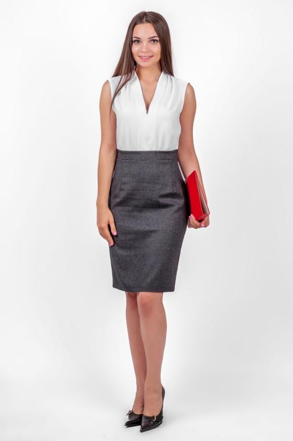 Офисное платье футляр серого с белым цвета|интернет-магазин vvlen.com