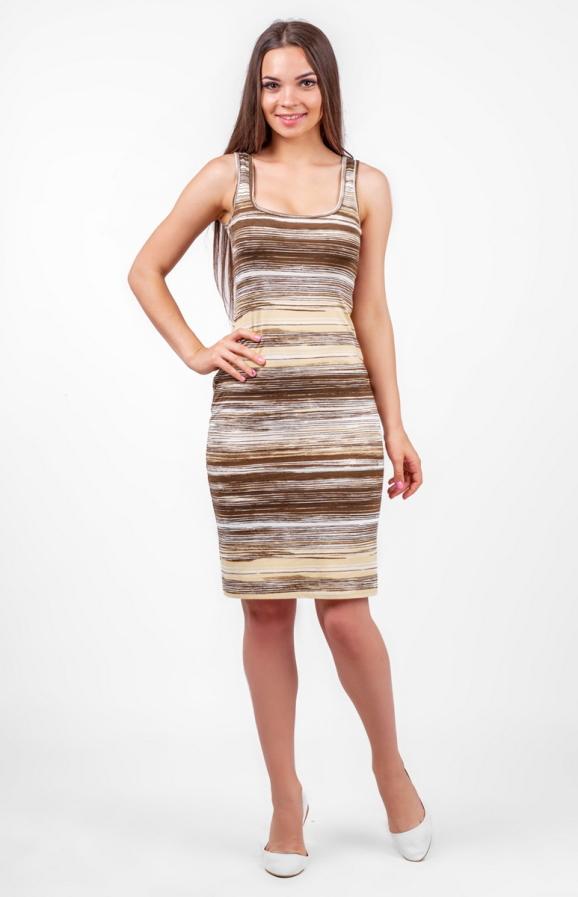 Повседневное платье майка желтого с коричневым цвета|интернет-магазин vvlen.com